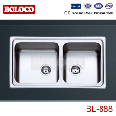Europe Middle&High Polish/Satin/Ele-pearl Double bowl Welding rectangle/Square Sink 304# BL888