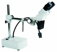 20X Binocular Boom Arm Stereo Microscope with 3W LED Gooseneck Light with 250mm long working distance