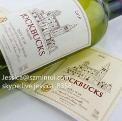 High Quality Custom Self Adhesive Label Printing Wine Bottle Label Wine Sticker Adhesive Print Label