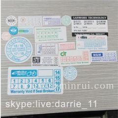 Destructible label paper manufacturer custom any design printed destructive vinyl sticker