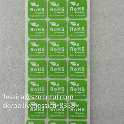 Custom Green Rohs Labels Tamper Proof Label Security