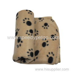 warmly softable large size beige color with paw print pet blankets