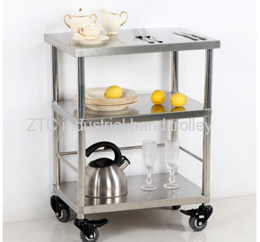 Stainless steel kitchen food storage and moving service hand trolley