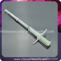 Disposable 134.2KHz Smart 1.4x8mm Animal PVC Syringe with Glass Tag