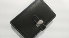 Black leather cover wire-bound diary or notebook for schools or universities