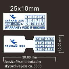Best Selling Rectangle Warranty Dates Sticker Ultra Destructible Vinyl Tamper Evident Stickers For Electronic Products