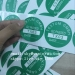 Dia 35mm Green Custom QC Inspection Tags with Destructible Cover Customized Printed Security Critical Calibration Labels