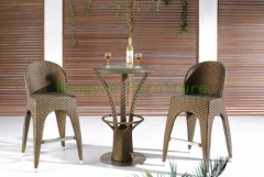 Wicker material brown color bar stool sports set designs