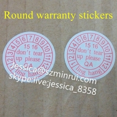 Hot Sale Custom Self Adhesive Fragile Sticker Round Anti-counterfeiting Fragile Paper Warranty Sticker For Equipment