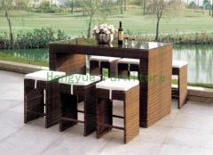 Brown rattan wicker bar stools set furniture factory