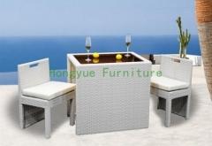 White color rattan chair bar stools furniture set
