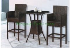 Coffee color rattan bar high chair furniture set designer