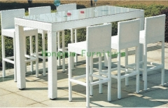 White wicker materials bar height chair set
