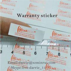 Small rectangle destructible warranty sticker self adhesive crumblin 1cmX3cm.Tiny tamper evident label for free custom