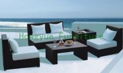 Dark grey rattan sofa furniture set in iron frame materials