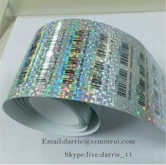 Custom one time use destructible hologram bar code warranty sticker