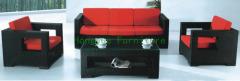 Grey rattan sofa furniture set with pillows wicker sofa set