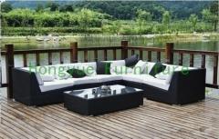 Wicker rattan corner sofa furniture set with cushions