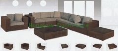 Brown rattan wicker corner sofa set furniture sippliers