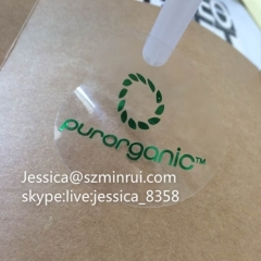 Minrui Supply Custom Round Transparent Labels With Green Foil Stamping Removable Clear Window Sticker