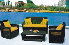 China rattan garden sofa set furniture with colorful cushions supplier