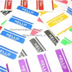 MINRUI destructible self adhesive labels wholesale hello my name is Eggshell sticker.custom any design for free