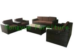 Rattan wicker sofa set furniture in brown color