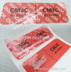 Custom Tamper Proof Security Void Seal Stickers Security Safety Void Seal Stickers With Sequence Numbers Printed