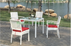 Rattan garden dining set furniture with cushions dining table chairs