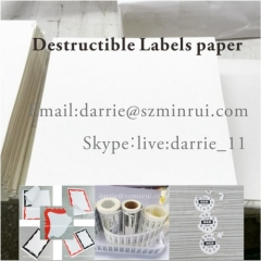 China largest destructible label material factory MinRui wholesale tamper evident self adhesive vinyl label paper