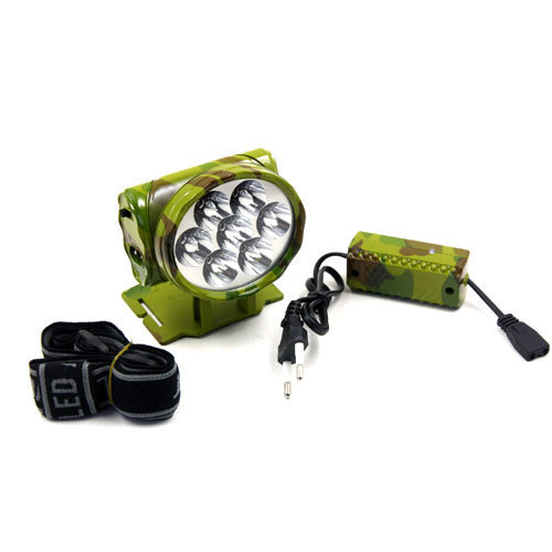 multi LED plastic rechargeable head lamp army green