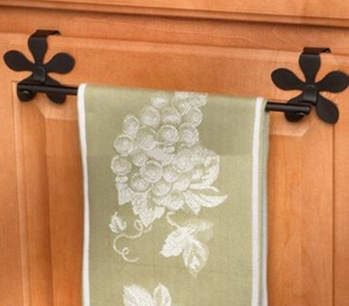 Bar towel with flower shaped hook for Over the Cbinet Door