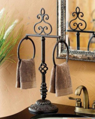 Standing Round Towel display rack with 2 pcs ring