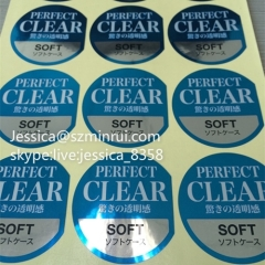 High Quality Bright PET Seal Sticker Printing Waterproof Sticker For Glass Transparent Clear Plastic Labels
