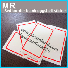 Custom different color blank border eggshell stickers