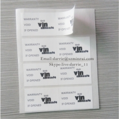 China largest self-adhesive destructible label manufacturer MinRui custom rectangle 2cmX3cm warranty screw label