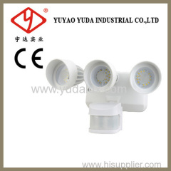 Triplehead motion sensor outdoor flood lamp