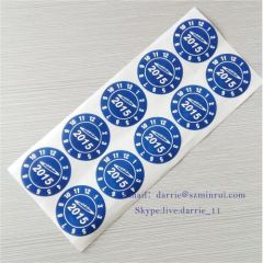China largest factory of self adhesive destructive label MinRui custom round printed white on blue warranty label