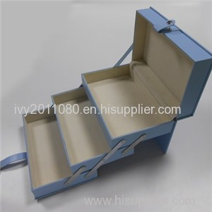 Blue Collapsible Leather Cosmetic Box