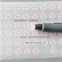 China top self-adhesive destructible label manufacturer supply round 10mm diameter warranty screw label for mobilephone
