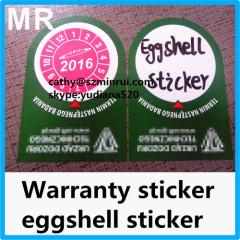 destructive tamper evident security eggshell stickers