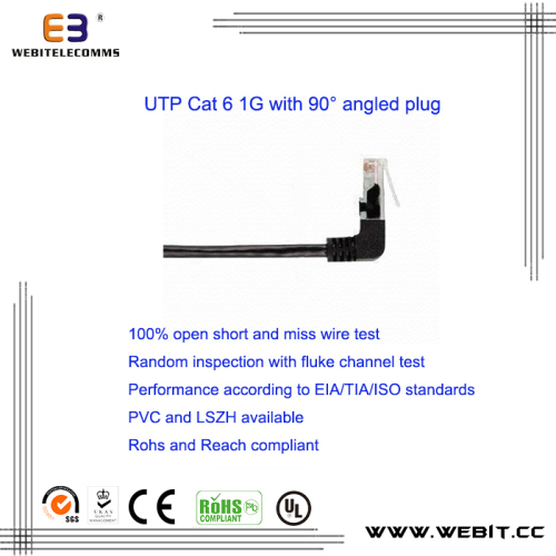 CAT5e/CAT6/CAT6a patch cord/patch cable with 90 degree Angled Plug