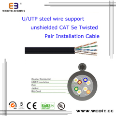 U / UTP câble d'acier non blindé Cat 5e Twisted Pair Installation Cable