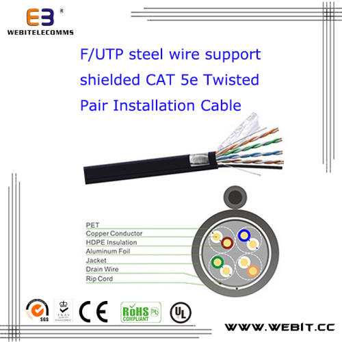 F/UTP steel wire support unshielded Cat 5e Twisted Pair Installation cable