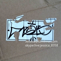 High Quality Black Printing Eggshell Vinyl Stickers Sheets Tamper Proof Destructible Vinyl Eggshell Graffiti Stickers