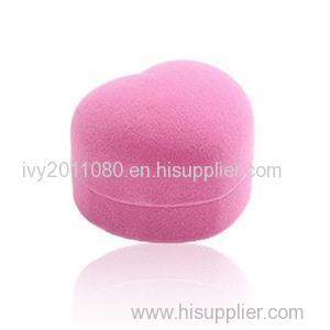 Pink Heart Shape Flocking Ring Box