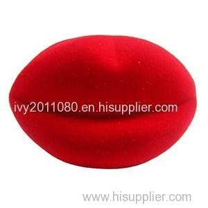 Red Lip Shape Velvet Jewelry Box