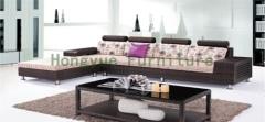 Wicker rattan material corner sofa set with cushions furniture