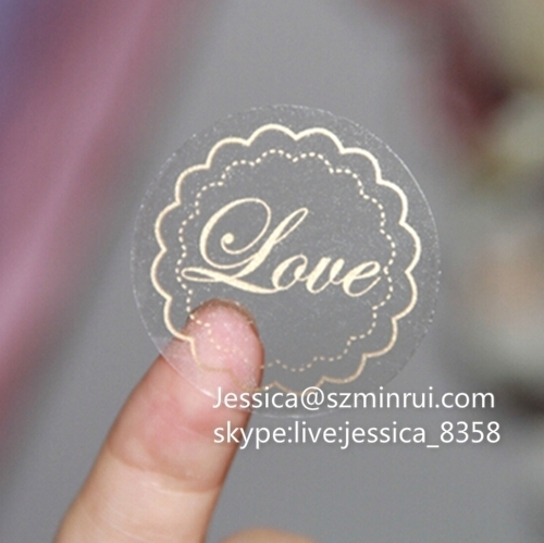 Factory price custom clear vinyl stickers gold foil adhesive pet logo sticker printing transparent cosmetics label