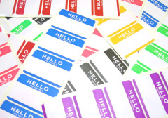 MINRUI self adhesive labels factory custom any design for free hello my name is Eggshell sticker